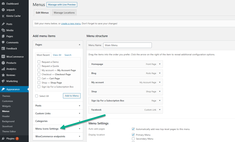 WordPress menu icons settings