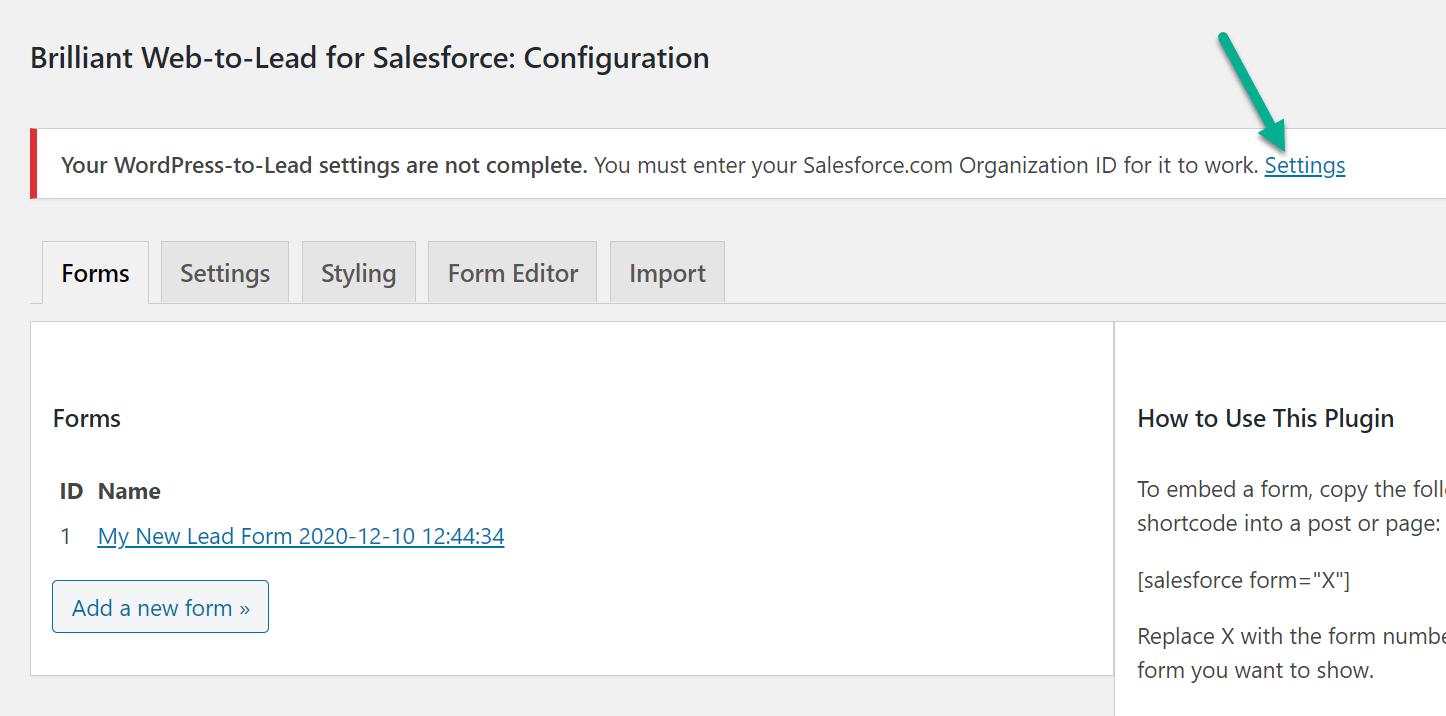 Configurações para integração com WordPress Salesforce
