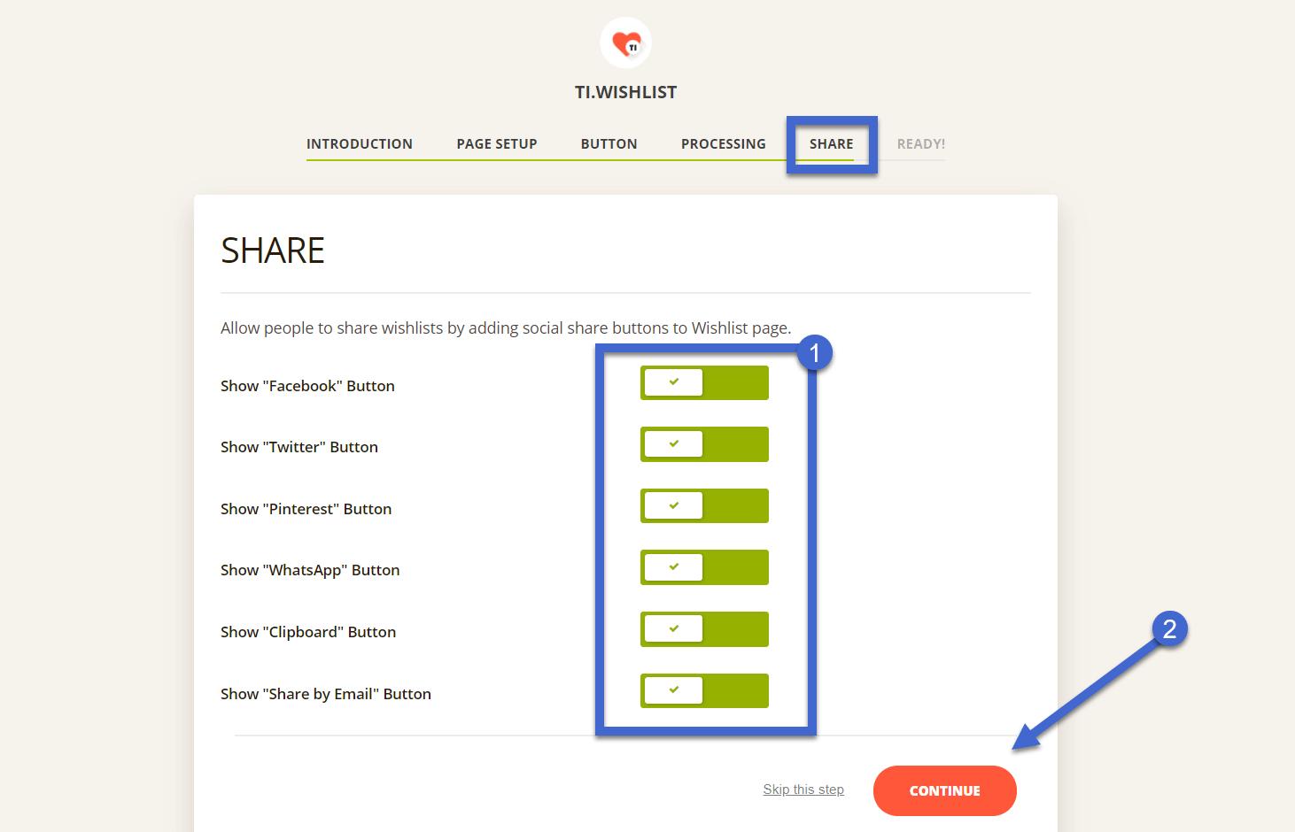 adicionar compartilhamento social para a lista de desejos do WooCommerce