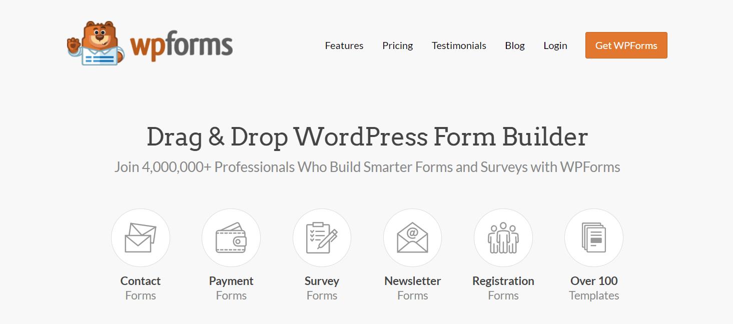 O construtor de formulários WPForms.