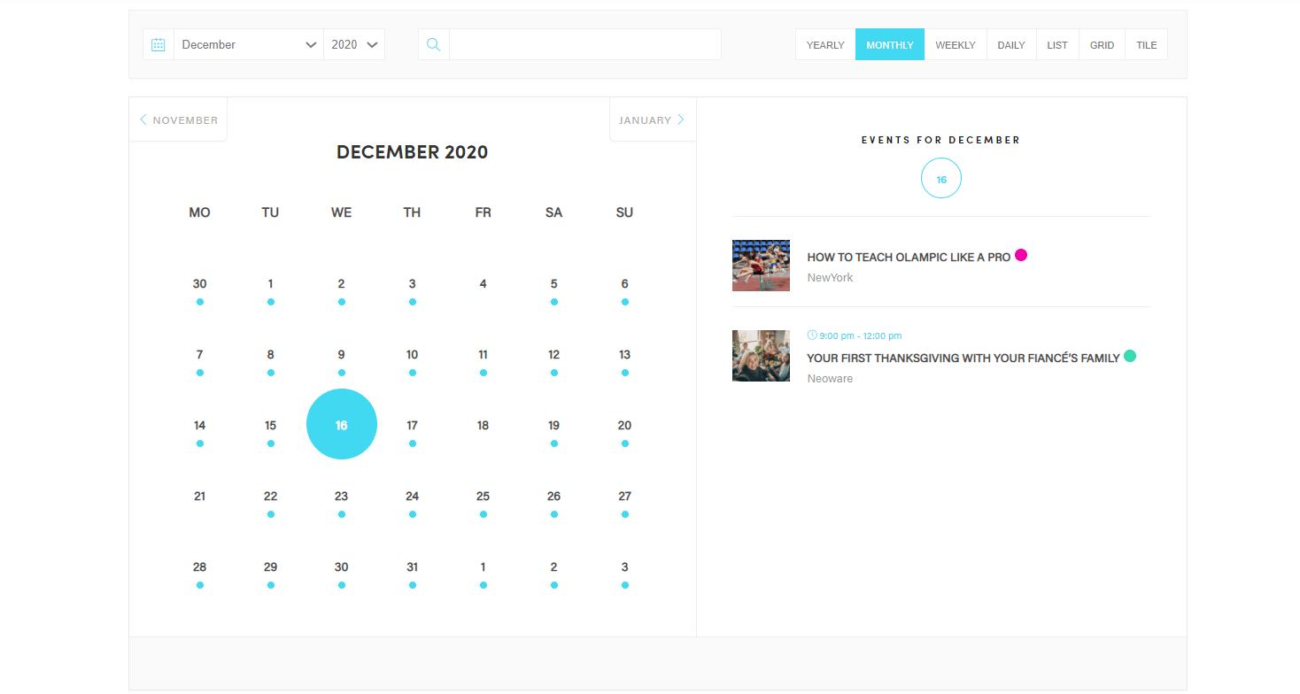 Exemplo de calendário de eventos criado com um dos melhores plug-ins do WordPress Modern Events Calendar.