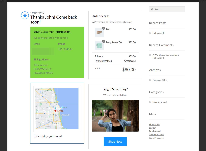 melhor página de agradecimento do WooCommerce