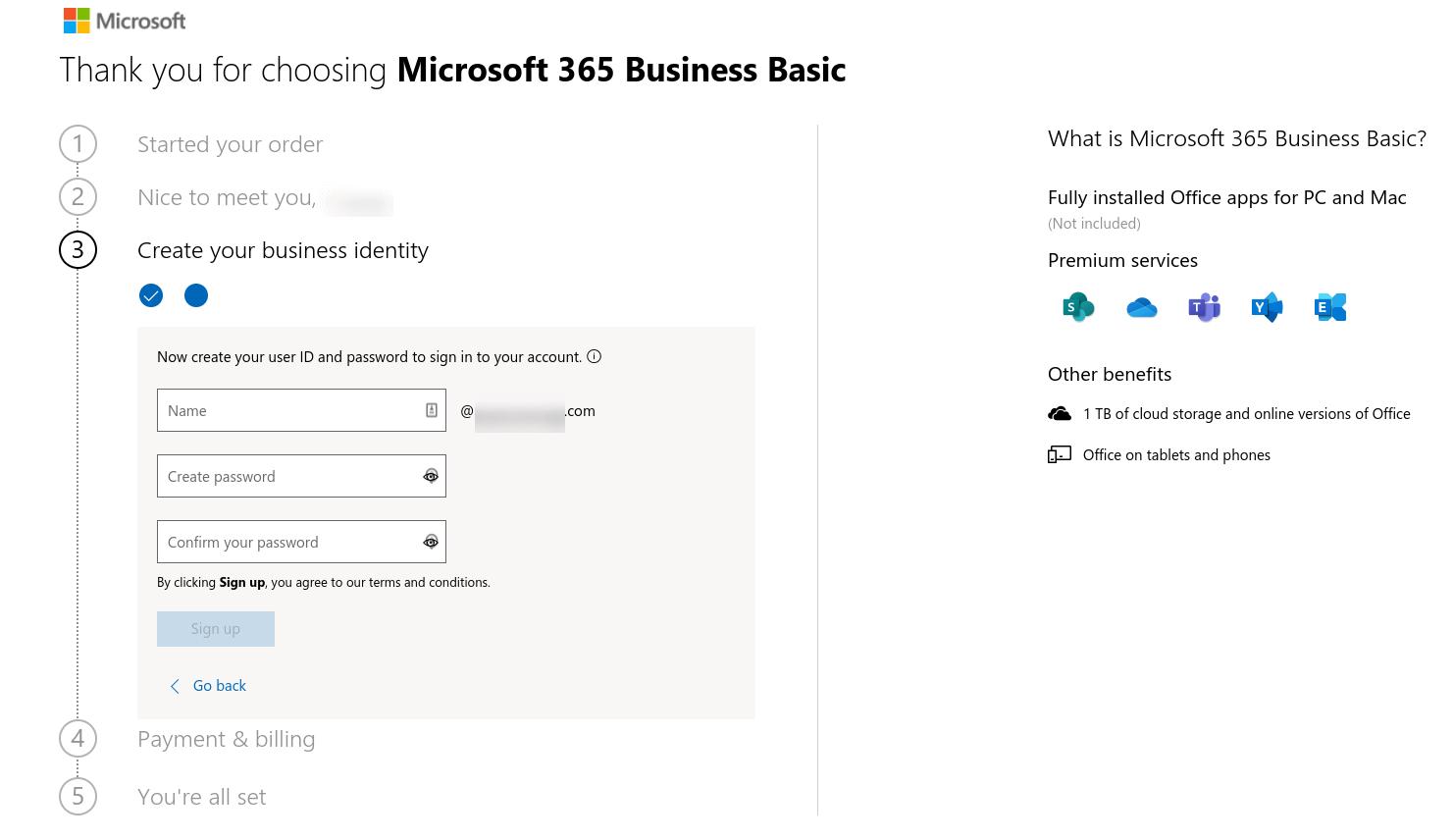 El formulario para crear un ID de usuario y una contraseña para Microsoft 365.