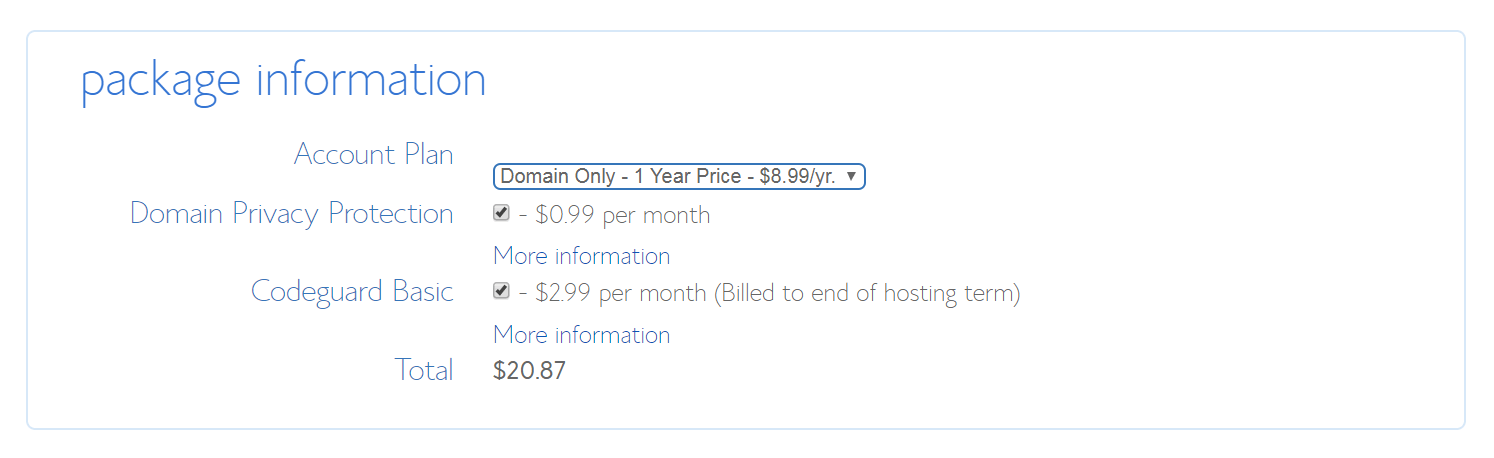 The form for buying a domain name through BlueHost.