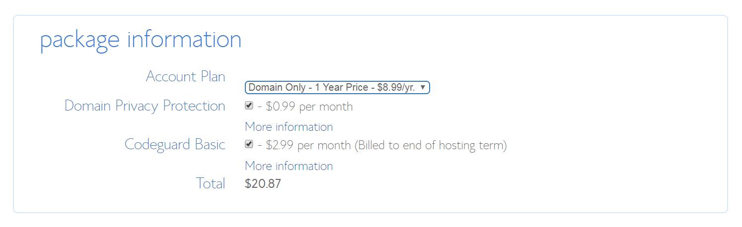El formulario para comprar un nombre de dominio a través de BlueHost.