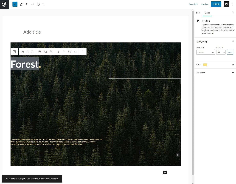 Edit WordPress block patterns