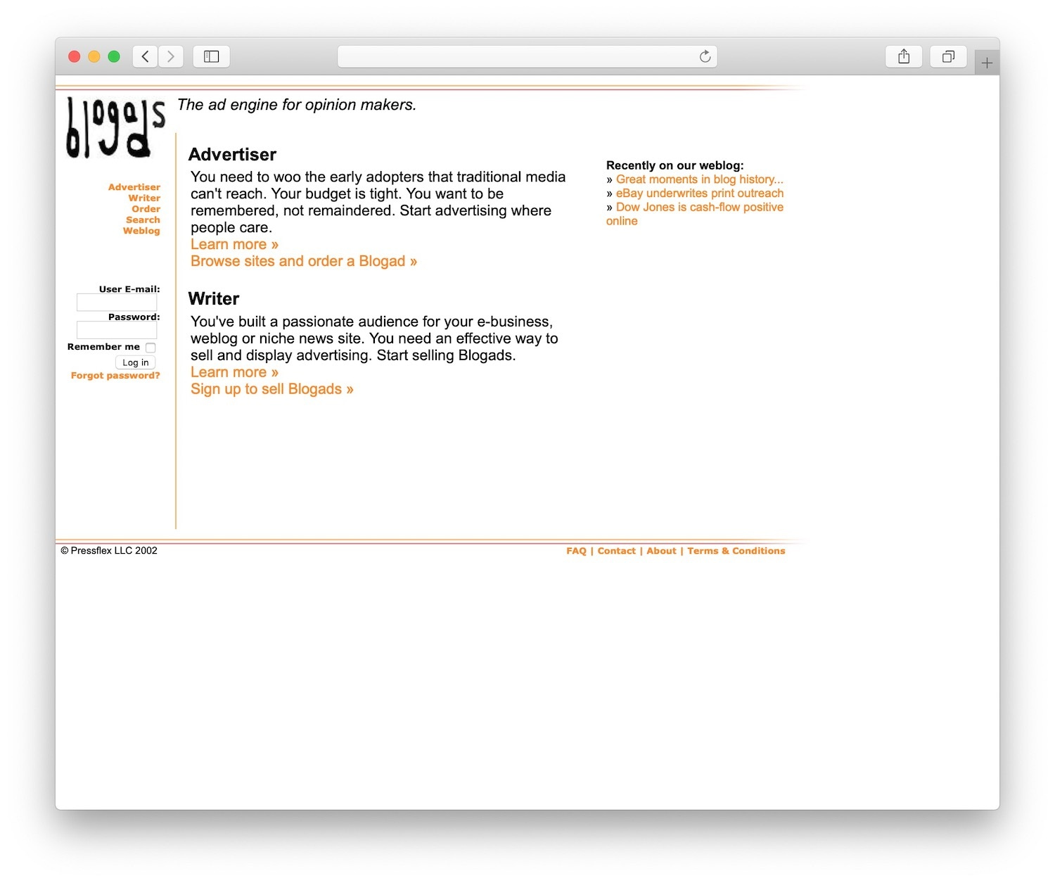 blogads was one of the first ad services for blogging