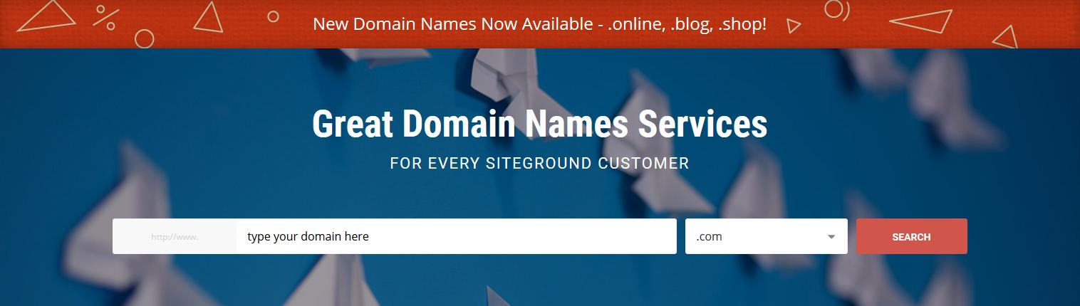 SiteGround domain name select