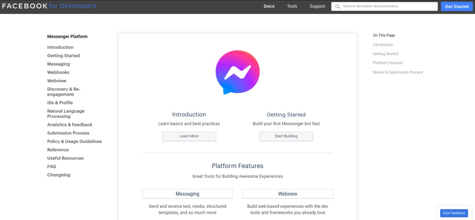 A plataforma de desenvolvedor do Facebook Messenger.