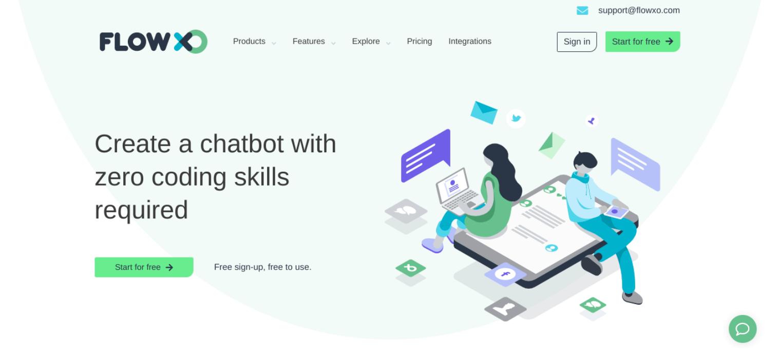 O site FLOW XO para a criação de um chatbot de comércio eletrônico.