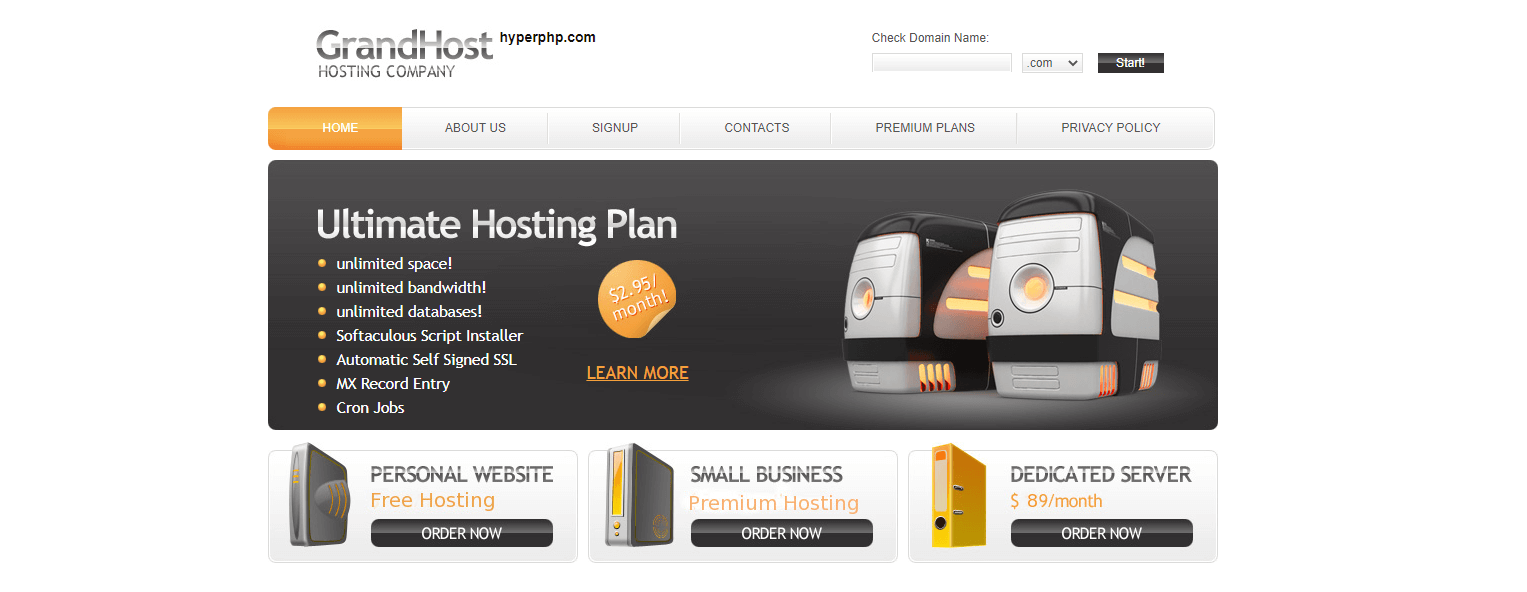 HyperPHP free web hosting service