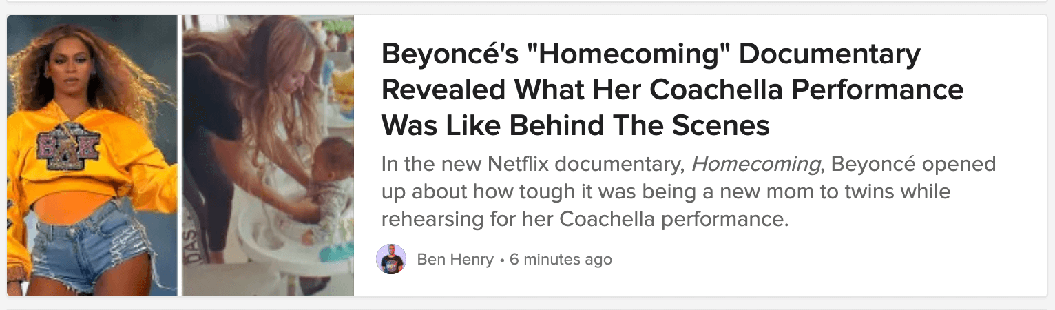 A Buzzfeed blog post title about Beyonce's Homecoming documentary.
