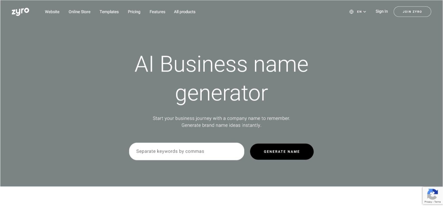 Zyro business generator