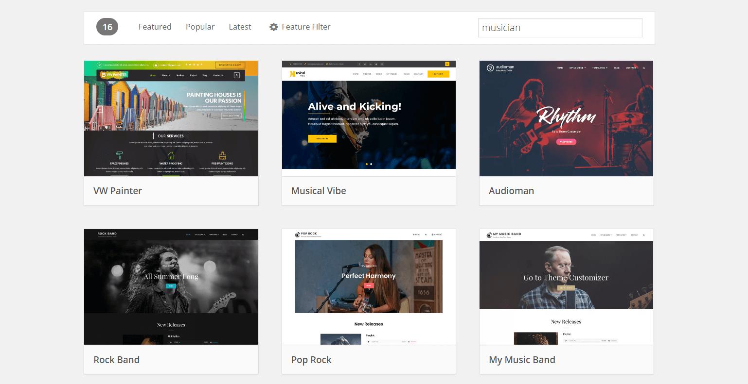 Niche musician themes on WordPress.org.