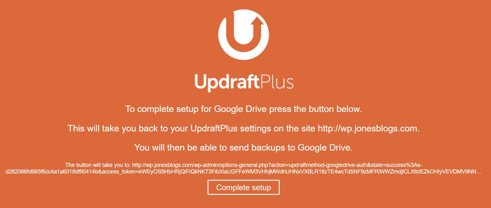 Google Drive et UpdraftPlus Connect