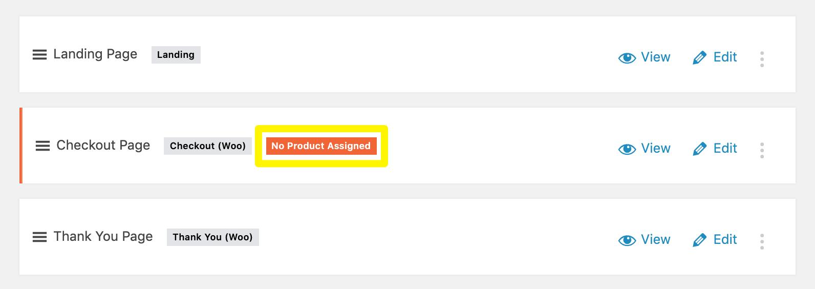 O rótulo Nenhum produto atribuído na página de verificação Cartflows.