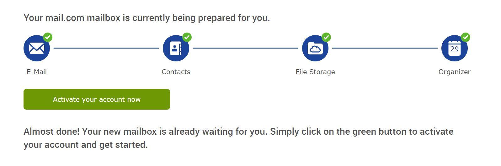 Activando una cuenta de Mail.com.