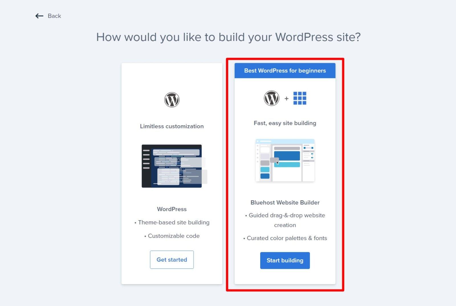 Choose the Bluehost Website Builder