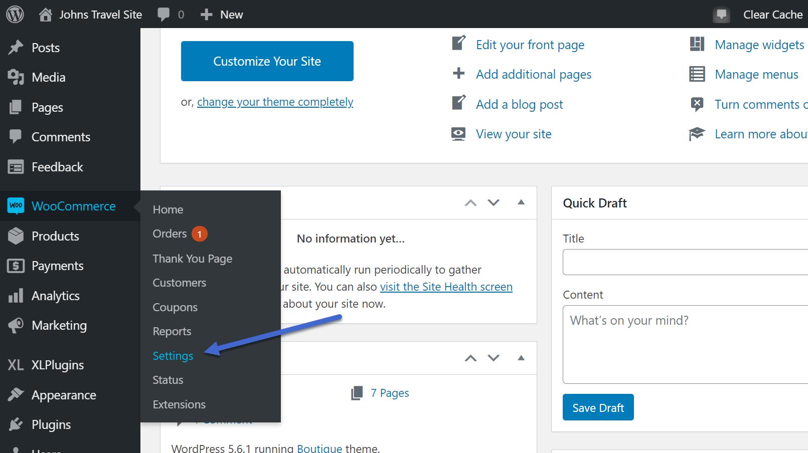 Configuração da página de agradecimento do WooCommerce