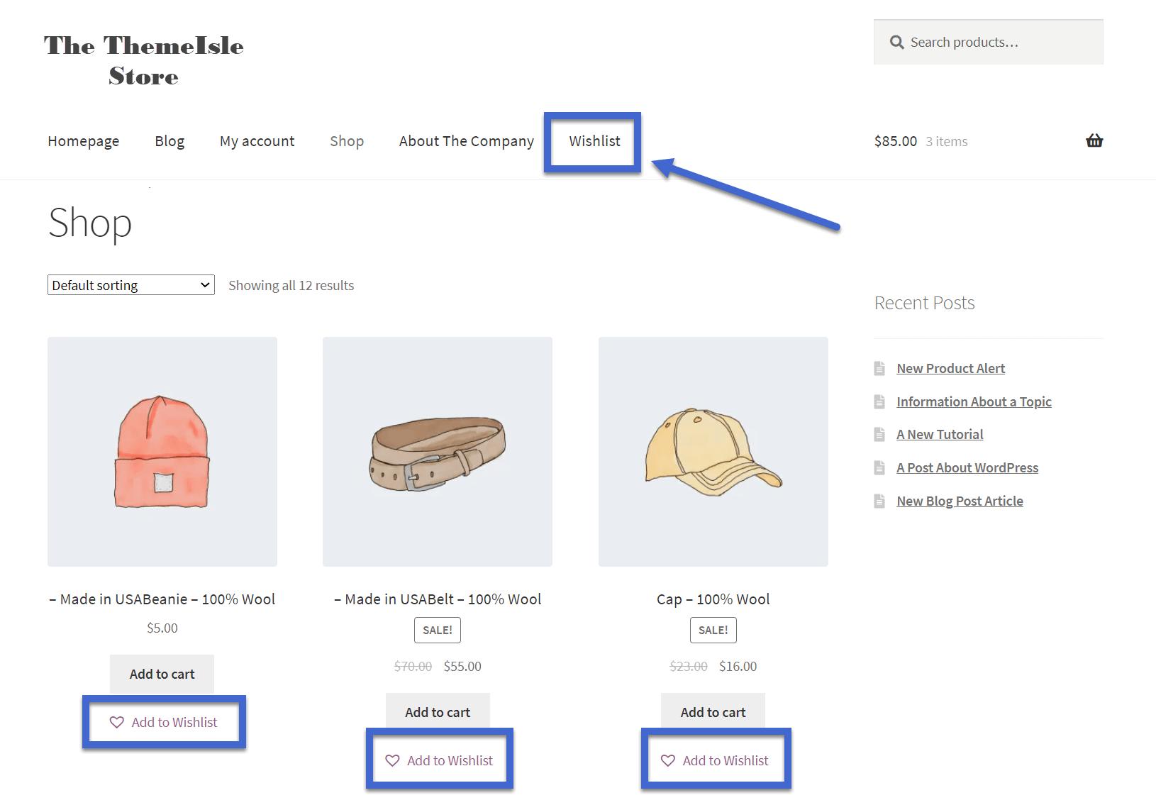 Guia da lista de desejos do WooCommerce no menu