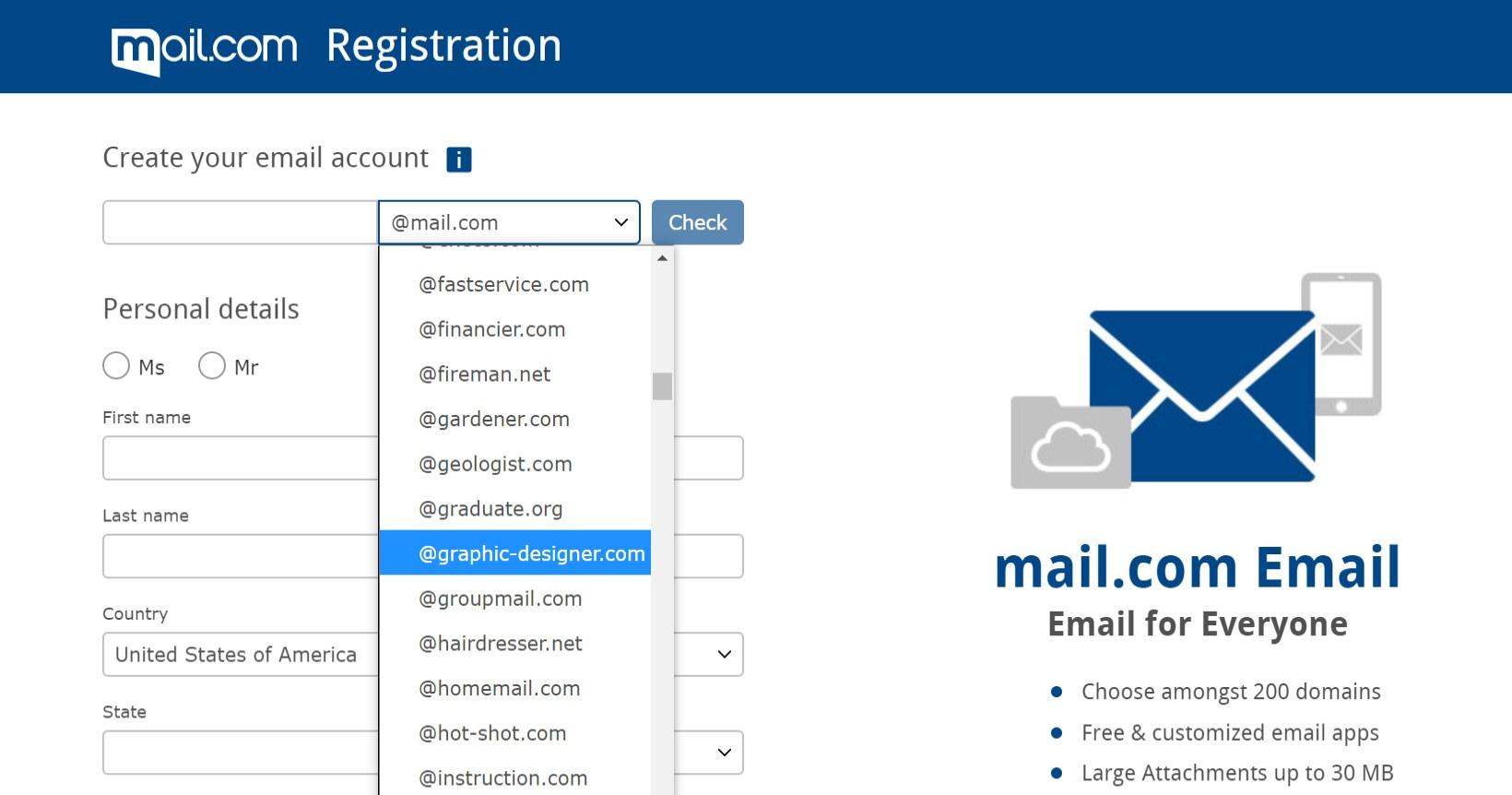 La página de registro de Mail.com.