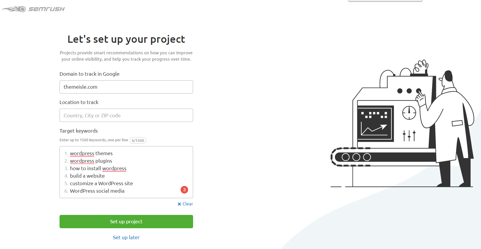 set up a project - SEMrush review