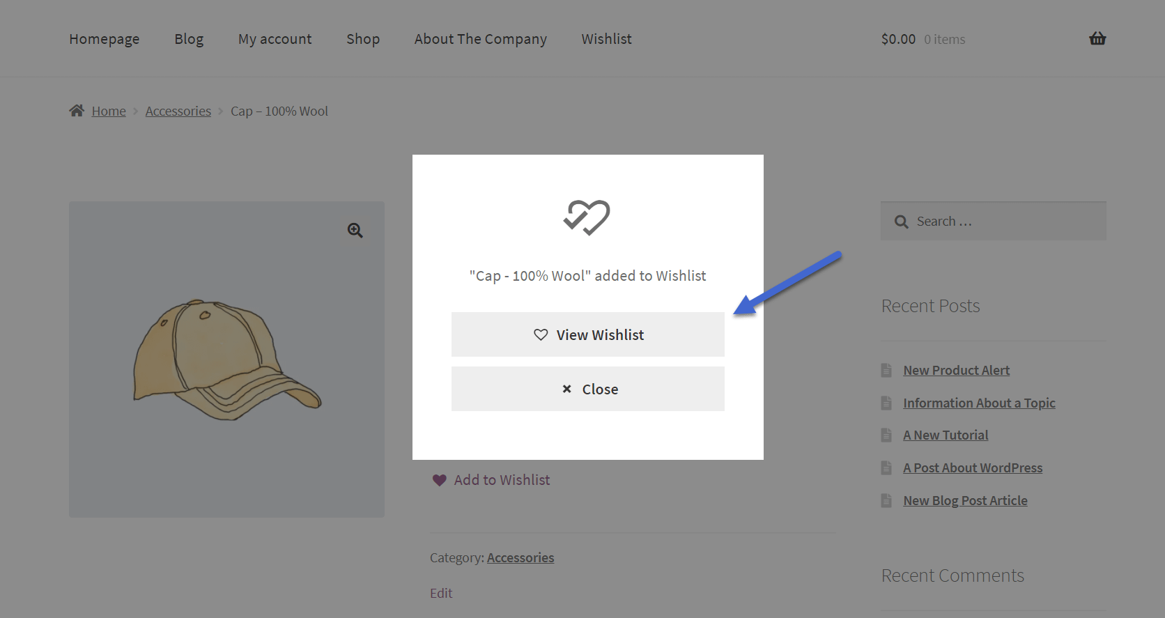 ver o botão da lista de desejos do WooCommerce