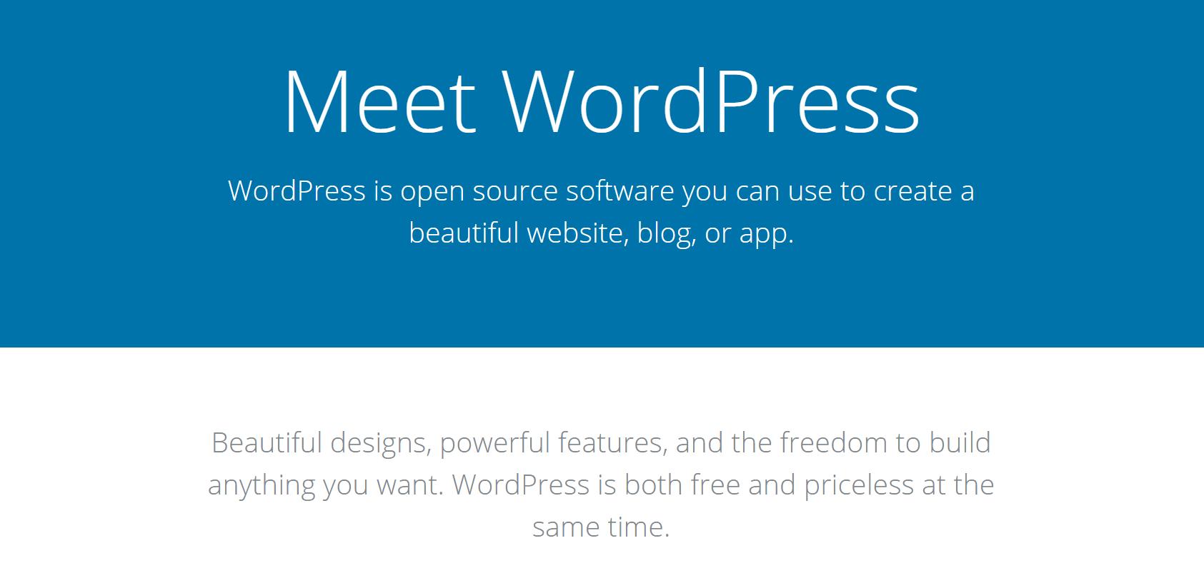 El sitio web de WordPress.