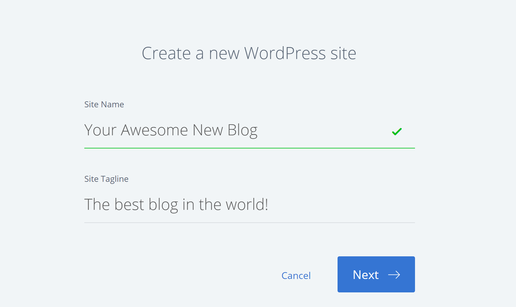 Enter details to create a WordPress blog