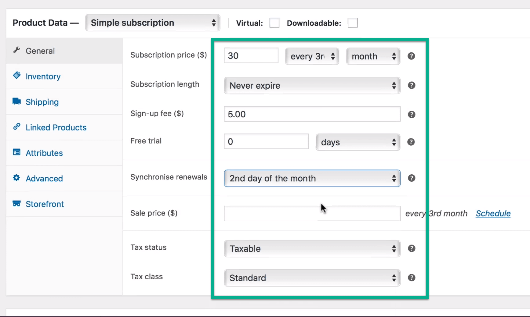 definir configurações para assinatura
