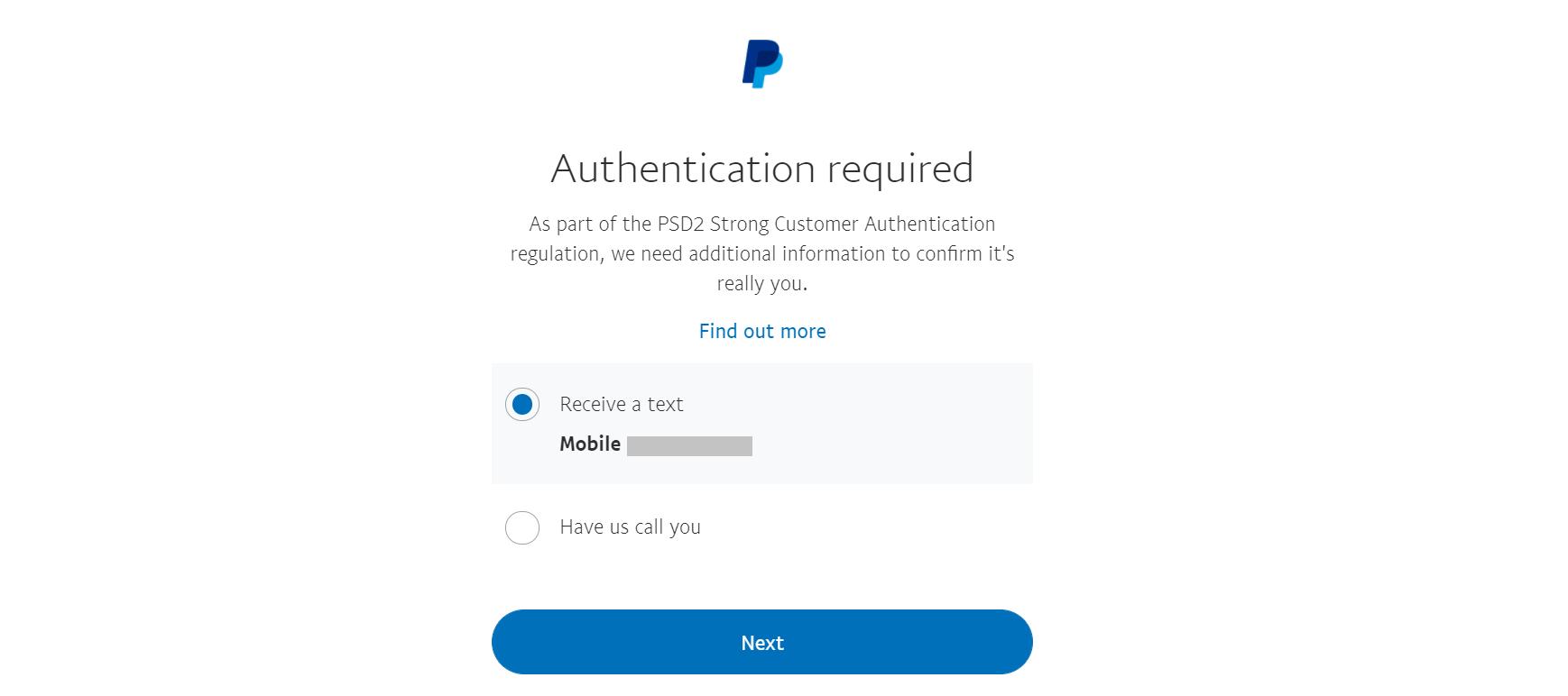 Exemplo de autenticação de dois fatores no site do PayPal.