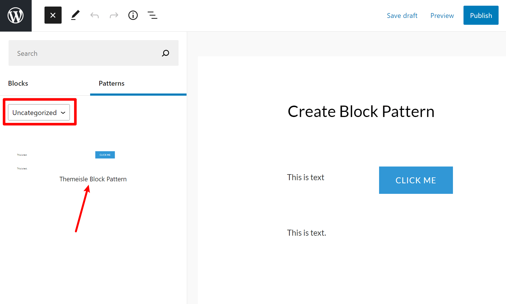 Insert your own block pattern