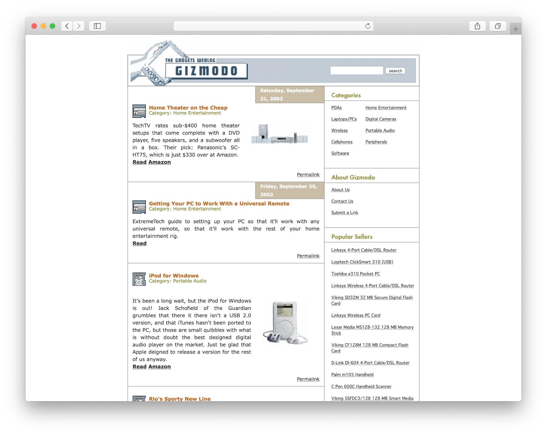 The original Gizmodo blog