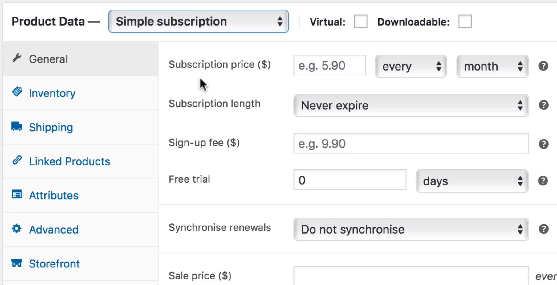 assinatura simples para pagamentos recorrentes do WooCommerce