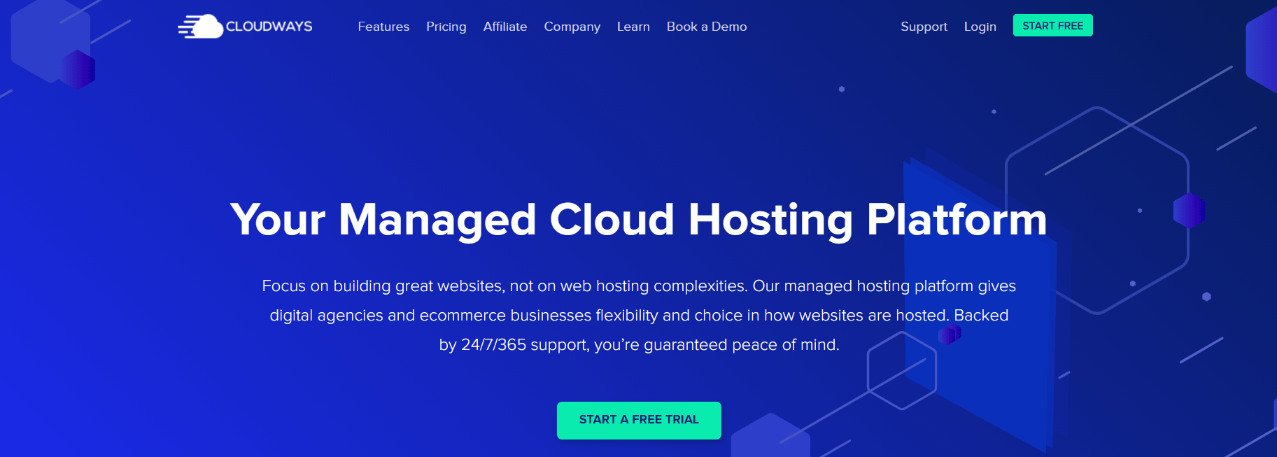 The Cloudways homepage.