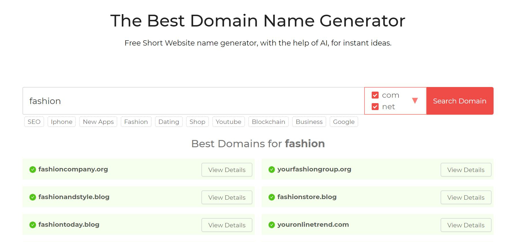 The DomainWheel domain name generator.