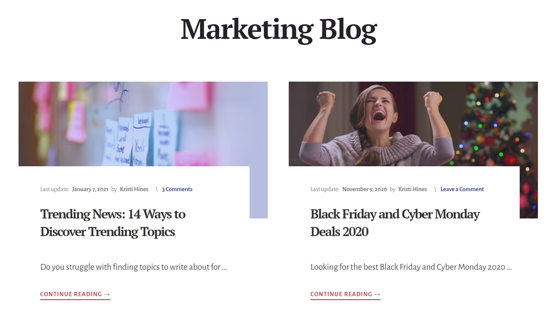 Professional Blog page example