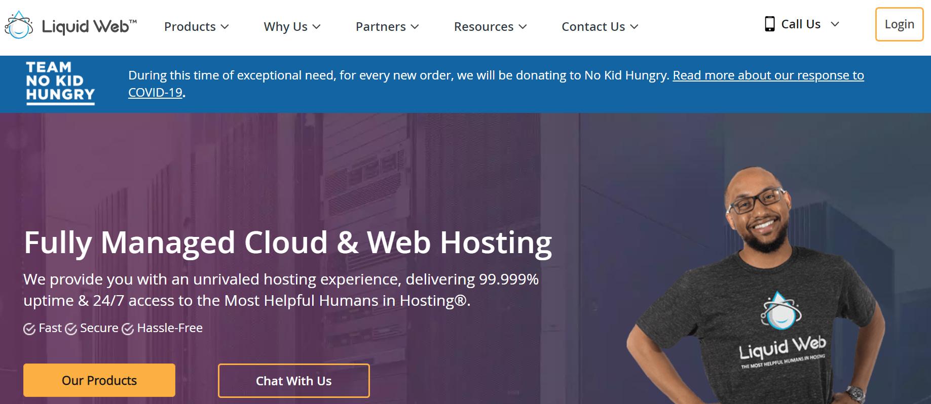 The Liquid Web homepage.