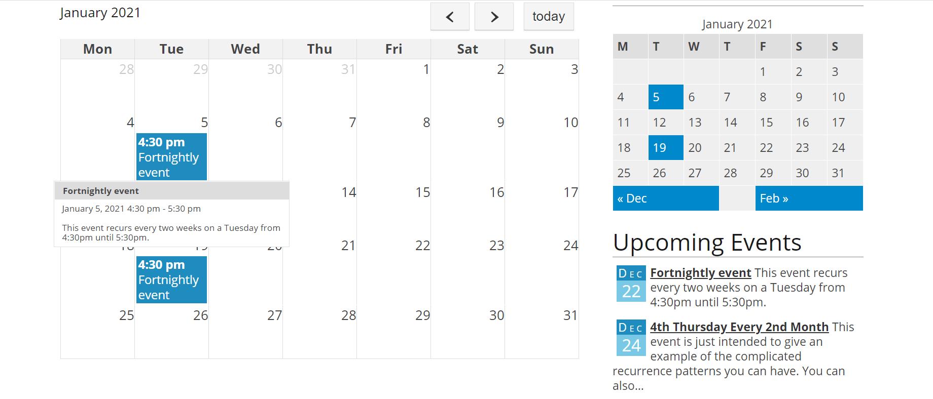Exemplo de calendário de eventos criado com o plugin Event Organizer.