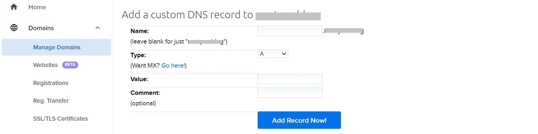 Agregar un registro DNS personalizado.