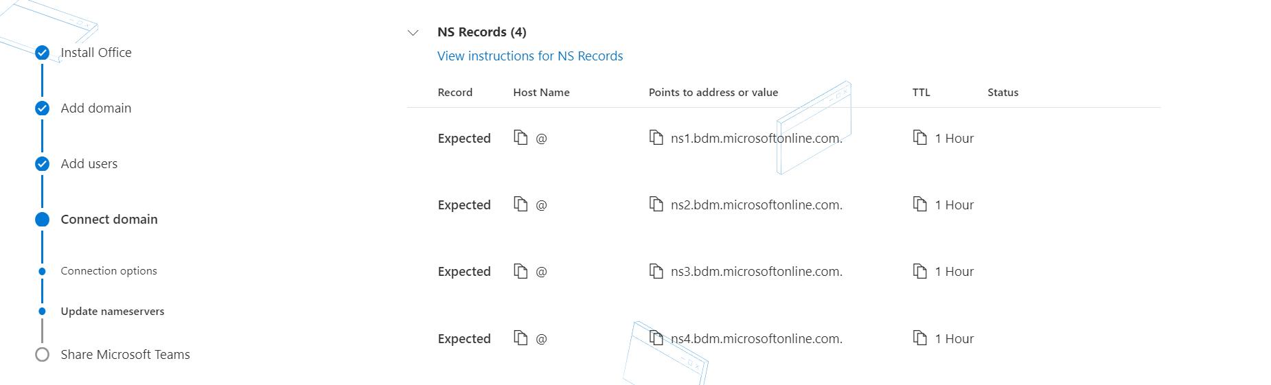 Agregar registros de servidores de nombres.