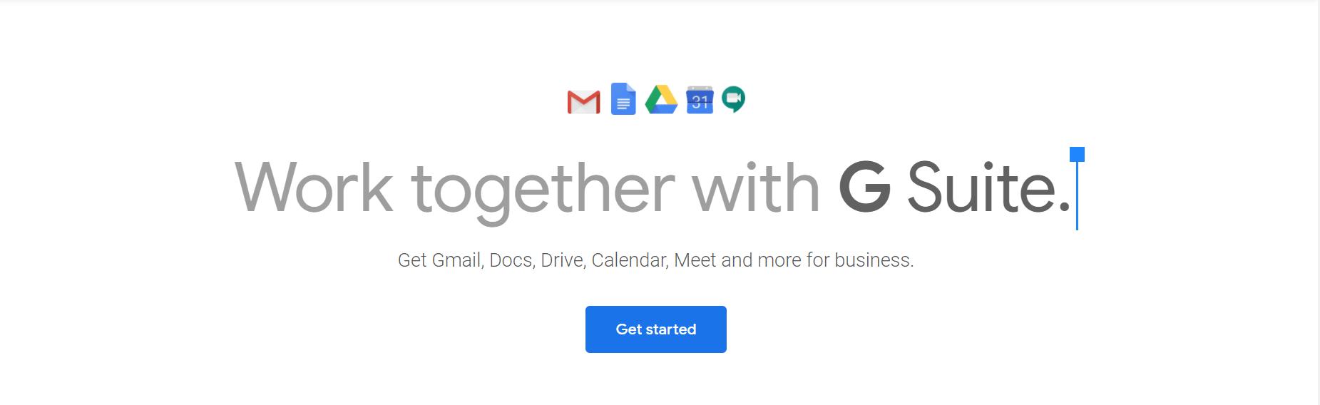 GSuite vs Office 365: la página de inicio de G Suite.