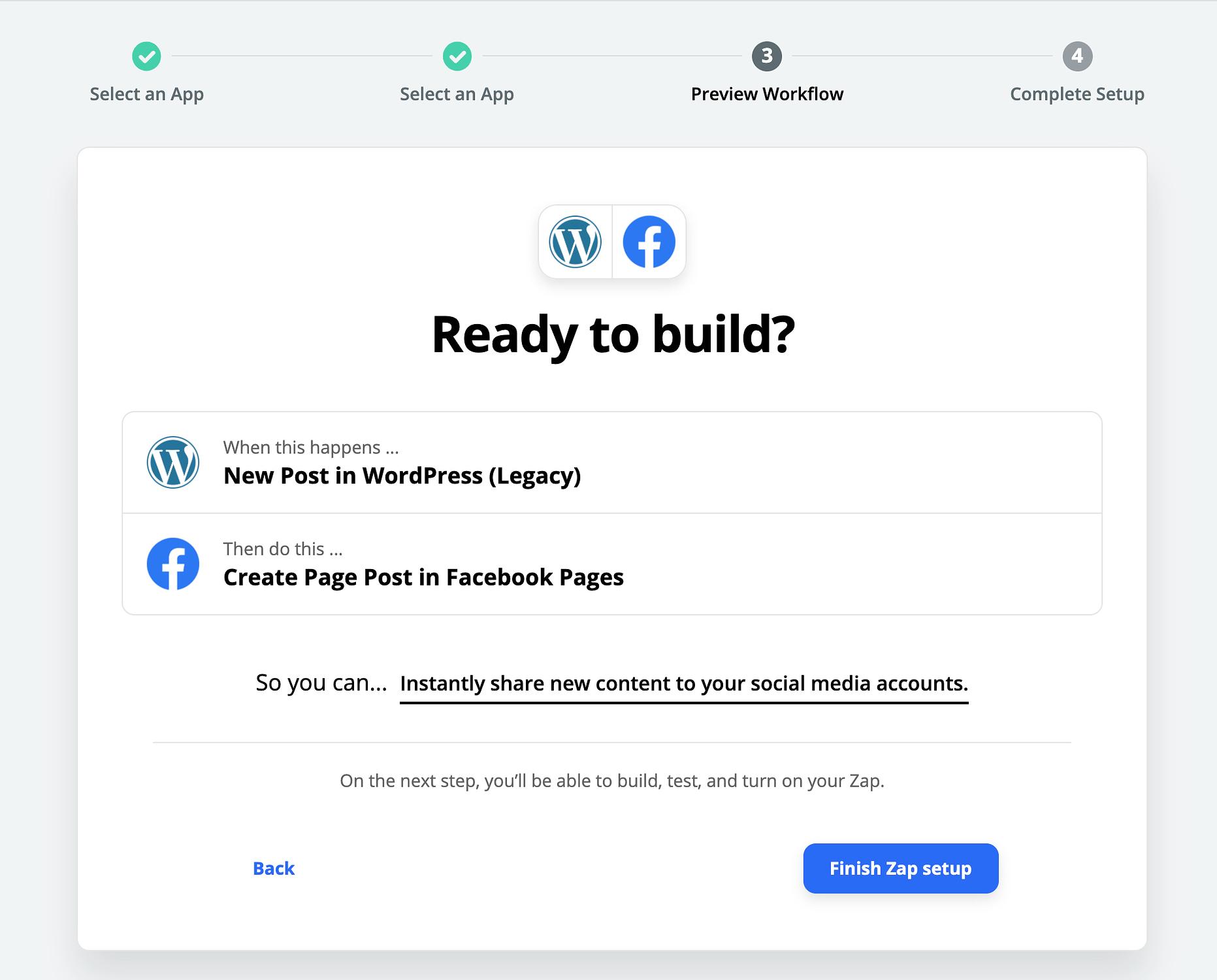 Configurar Zapier para publicar en Facebook y Twitter desde WordPress con un flujo de trabajo existente.