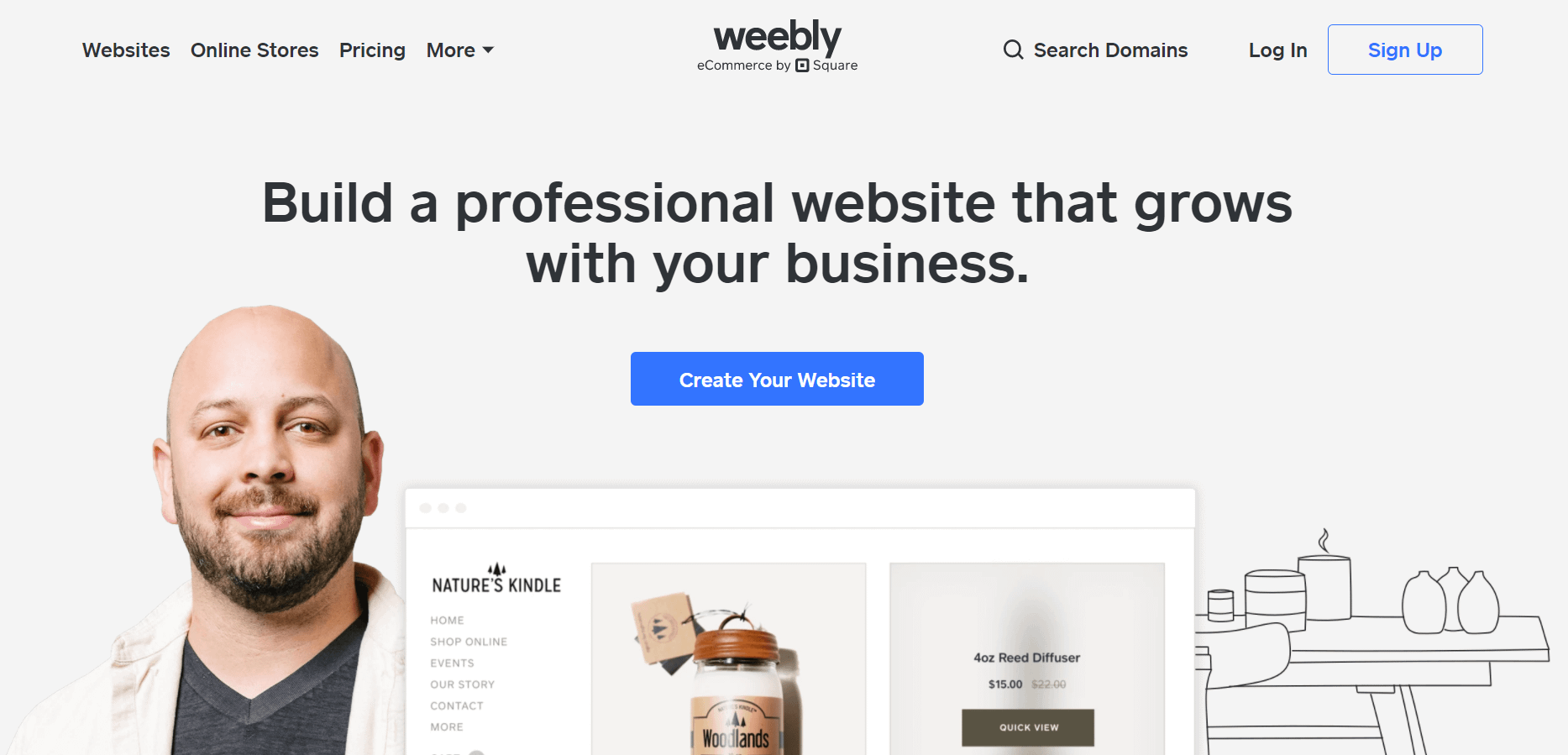 A página inicial do Weebly.
