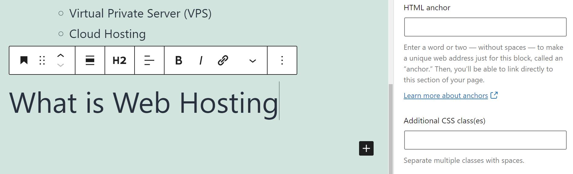 Adding an HTML anchor for a block