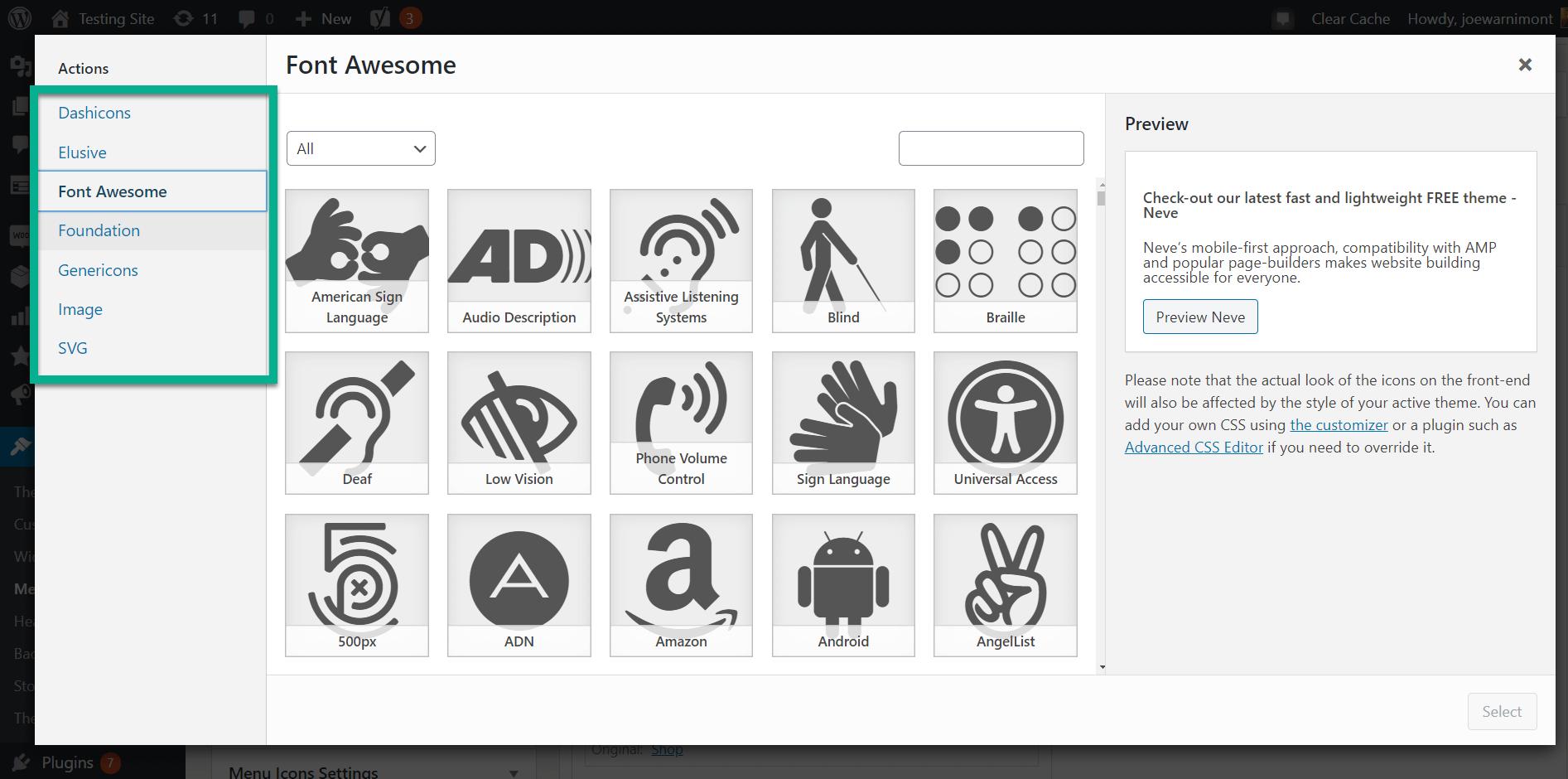all category WordPress menu icons