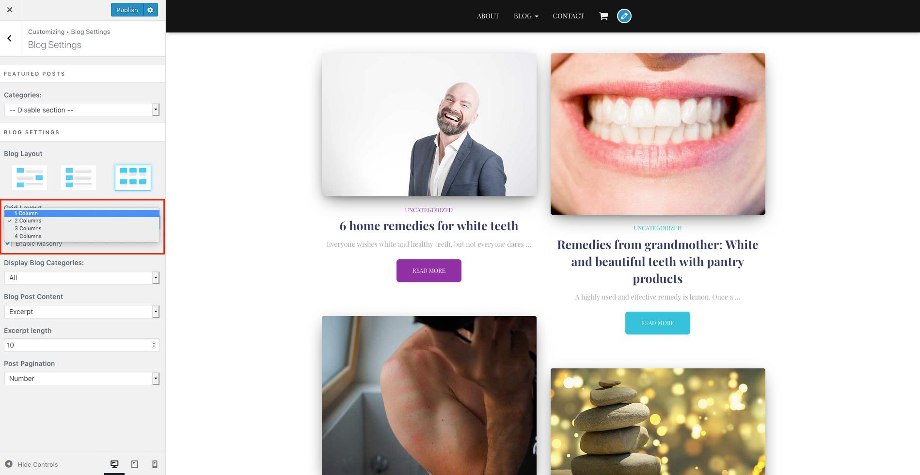 El control de la columna del blog de Hestia te ayudará a hacer que las imágenes se destaquen