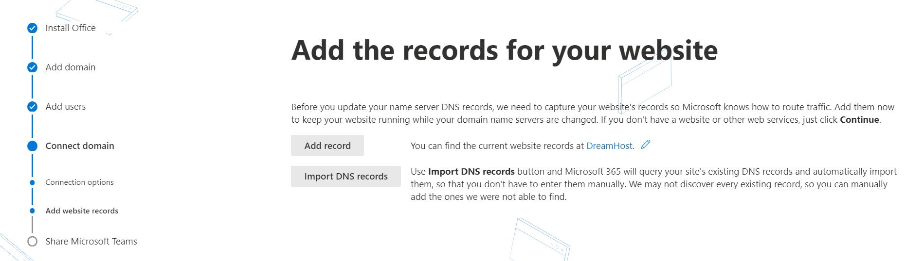 La configuración de una dirección de correo electrónico personalizada requiere agregar registros de sitios web con Office 365.