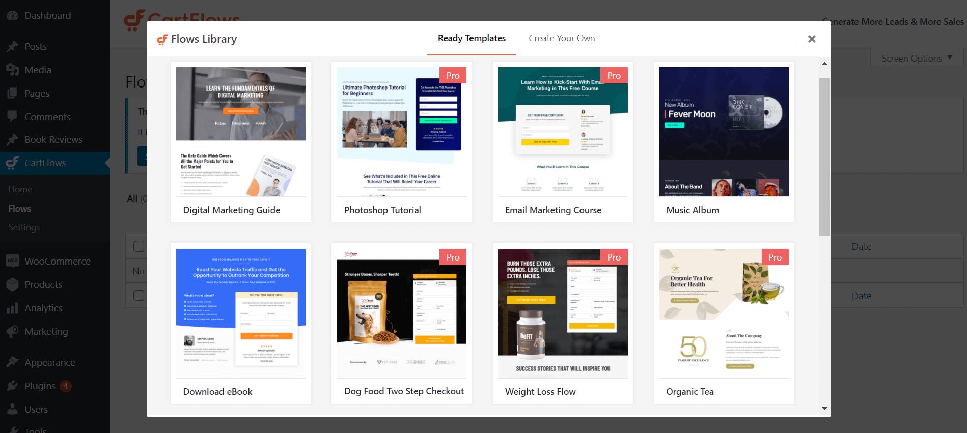 Biblioteca de modelos WordPress do funil de vendas em CartFlow.
