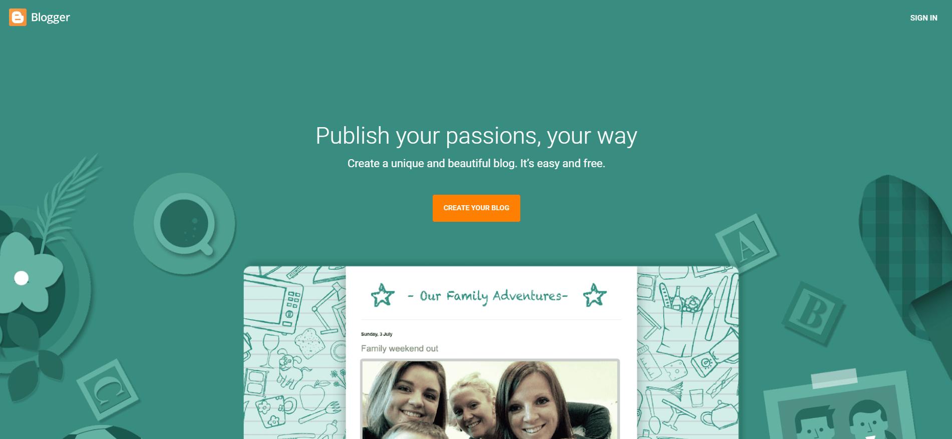 El sitio web de Blogger.